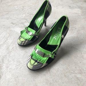 Dior Kilt Lime Green Pump Heels size 40